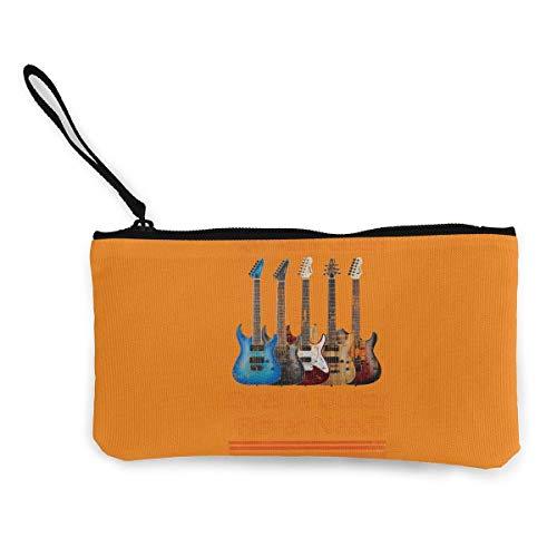 SDFGJ Wie viele Gitarren braucht EIN Gitarrist? Leinwandmünze Geldbörse Leichte Wristlet-Brieftasche Geldmünztasche Handytasche mit Reißverschluss