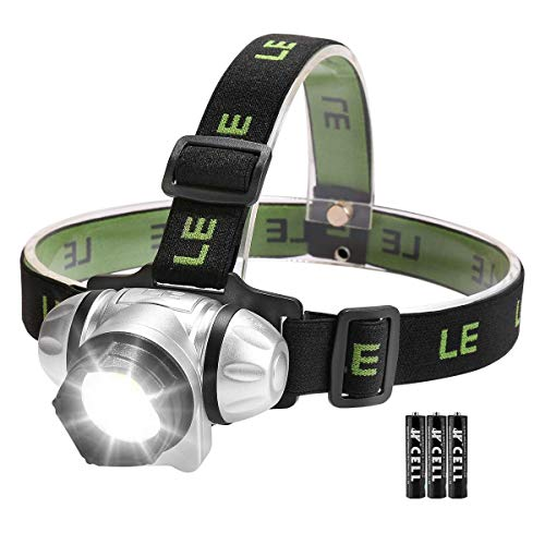 LE Linterna Frontal LED con Luz roja 3W 150lm, Pilas AAA Incluidas, Luz Linterna para Acampada, Correr, Caminata, Casco, etc