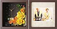 [フレンドアートNEXT] 大輪ムーン プリザーブドフラワー バラ フォトフレーム 写真立て (名入れ) 枯れない花 プレゼント [全12色] ブック型 ブラウン×イエロー [大輪ムーン]