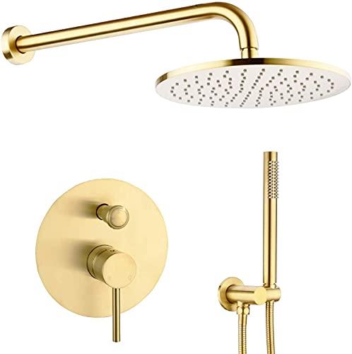 ZYDSN Conjunto de Grifo de Ducha de baño Redondo de Lujo en la Pared de Oro Cepillado, Incluido el Cuerpo de la válvula áspera y Las Piezas Decorativas,12 Inch Set