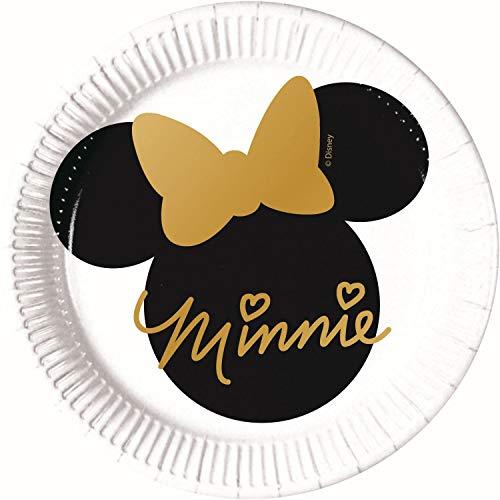 Procos 90723 Mouse Partyteller Disney Minnie Pappe, 8 Stück, weiß, schwarz, Gold