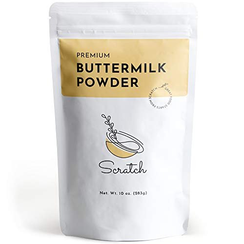 Scratch Premium Buttermilk Powder - Gourmet Baking Ingredients - Sweet Rich Flavor - Adds Moisture & Increases Fluffiness to Baked Goods - Contains Vitamin A, C, Calcium, & Iron (10 oz)