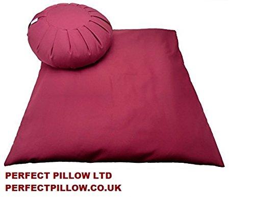 Perfect Pillow Ltd - Zafu + zabuton, set di meditazione in tessuto bordeaux gabardina, imbottitura in grano bonico, prodotto in Gran Bretagna, wow! Meraviglioso zafu e zabuton (Artisangirl, marzo 2014)
