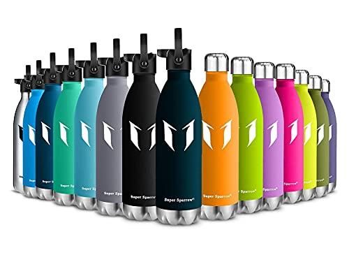 Super Sparrow Borraccia Termica - 350ml - Bottiglia Acciaio Inox Isolamento - Senza BPA - Bottiglie di Paglia -Coperchio di Paglia + Cappuccio Metallico