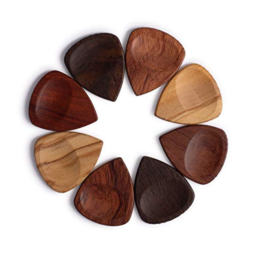 TimbreGear Exotica 8 Pack Genuine Handcrafted Wood Guitar Picks Mix with Thumb-Groove in Guitar Pick Holder Tin Best Gift Idea (Ebony, Rosewood, Sandal, Olive)