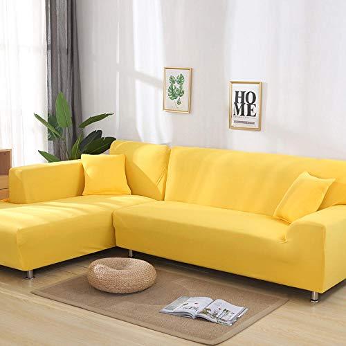 JRKJ Sofaüberwürfe,Vier Jahreszeiten Universelle Elastische Sofabezug, Vollbezug Stoffbezug Sofabezug, Möbel Staubschutzbezug-Candy Yellow_Triple 190-230Cm