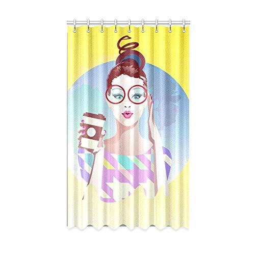 N\A Mädchen Verdunkelungsvorhänge Particluar Brille Junge Mädchen Innenfenster Vorhang 50 x 84 Zoll EIN Stück für Patio Glasschiebetür/Schlafzimmer