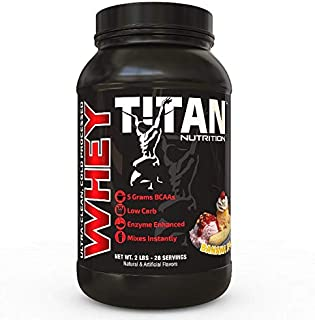 Titan WHEY Premium Whey Protein Powder for Improved Muscle Recovery with 23 Grams of Clean Whey Protein |BCAA and Digestive Enzymes| (Banana Split, 2 lb)