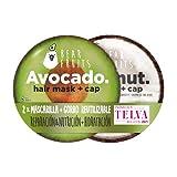 Bear Fruits Pack Mascarilla Capilar + Gorro De Ducha Reutilizable, Aguacate & Coco, Pelo Hidratado & Reparado
