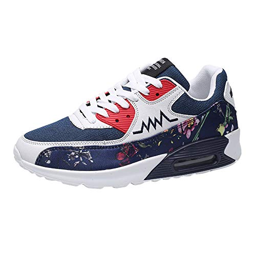 Zapatillas Running para Hombre Aire Libre y Deporte Mesh Malla de Tela de Flores Net para Estudiante Volar Zapatos Casual Deportivos Gimnasia Montañismo Sneakers 39-44 riou