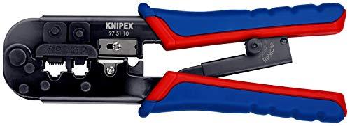 Knipex 97 51 10 SB Crimpzange für Westernstecker Länge: 260 mm, Schwarz, Blau, Rot