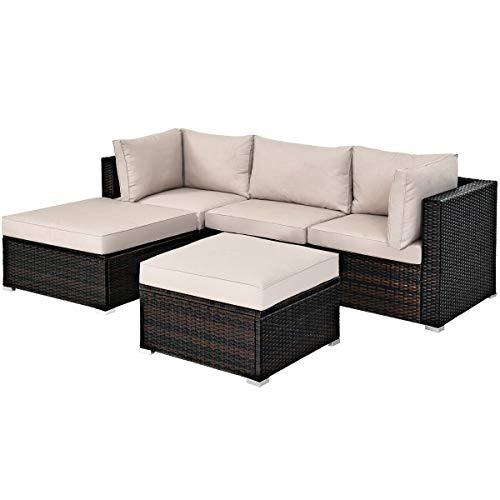 5 Pcs Patio Rattan Wicker Furniture Set Sectional Conversation Set Ottoman Table