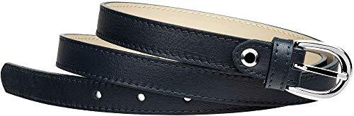Caspar GU273 schmaler Damen Leder Gürtel Taillengürtel, Gürtelgröße:80, Farbe:dunkelblau
