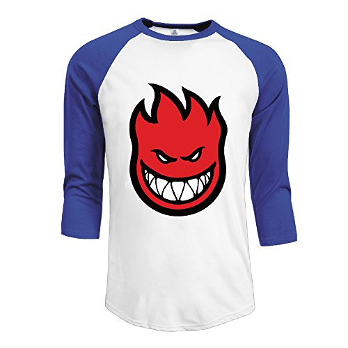 Spitfire Laughing Face Men 3/4 Sleeve Baseball Jersey T-shirt Black