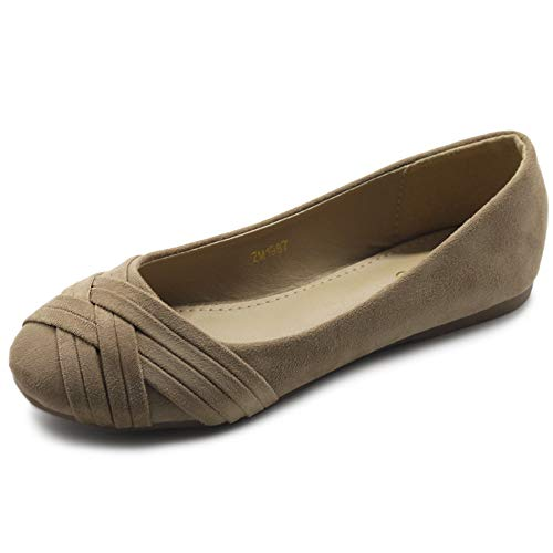 Ollio Women Ballet Shoes Cute Casual Comfort Flat ZM1987(10 B(M) US, Beige)