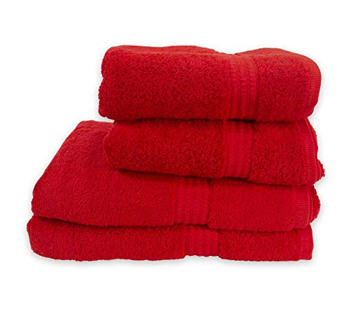 PimpamTex – Juego de Toallas Premium 700 Gramos de Secado Rápido para Baño, 100% Algodón, Pack Toallas de Baño + Toallas de Mano – (Rojo, 2 de 70x140 cm + 2 de 50x100 cm)