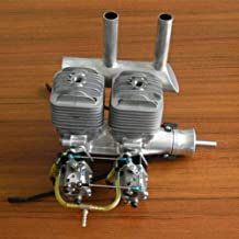 RC Airplane Gas Enging DLA 64CC Gasoline Engine Twin Box in line Cylinder w/Ignitron & Muffler for RC