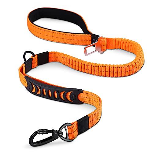 HAPPY HACHI Guinzaglio per Cane Regolabile in Nylon con Comoda Impugnatura Imbottita Striscia Riflettente per Animali Domestici(Lunghezza 110-150 cm, Arancione)