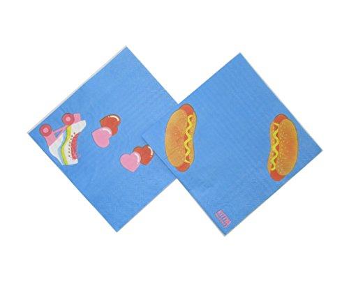 """InviteMe 20 Farbenfrohe Party-Papier-Servietten aus der Serie """"Kitiya"""" im 80er Jahre Retro-Stil mit Rollschuhen, Hot-Dogs & Eis am Stiel"""