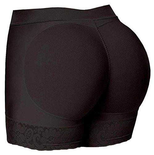 HelloTem Women Lace Padded Seamless Butt Hip Enhancer Shaper Panties Underwear, Black, (US Size 10-12) 2XL