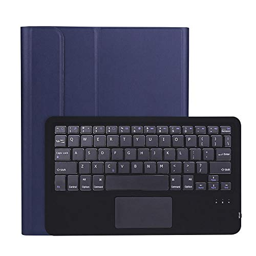 Touchpad Keyboard Case For iPad Air 4 10.9 inch 2020 Pen holder Detachable Backlight WiFi Bluetooth Keyboard Leather Cover-Navy Blue