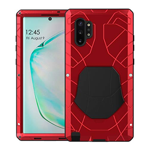 Feitenn Galaxy Note 10 Plus Case Metal, Note 10 Plus 5G Case Heavy Duty, Gorilla Glass Cover Armor Aluminum Bumper Military Shockproof Defender for Samsung Galaxy Note 10 Plus/Note 10+ 5G - Red