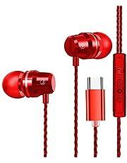 USB C hörlurar, i öronen hörlurar stereo bas brusreducering sport trådbundna hörlurar kompatibel med Huawei P20 Pro/Mate 20 Pro/10 Pro Google Pixel 3 XL Xiaomi Mi 8