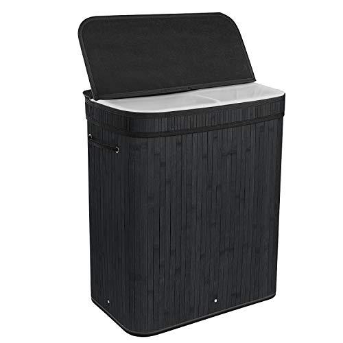 BRIAN & DANY 100 L Cesto para Ropa Plegable con 2 Compartimentos, Cesto para la Colada de Bambú, Cesto Ropa Sucia, Color Negro