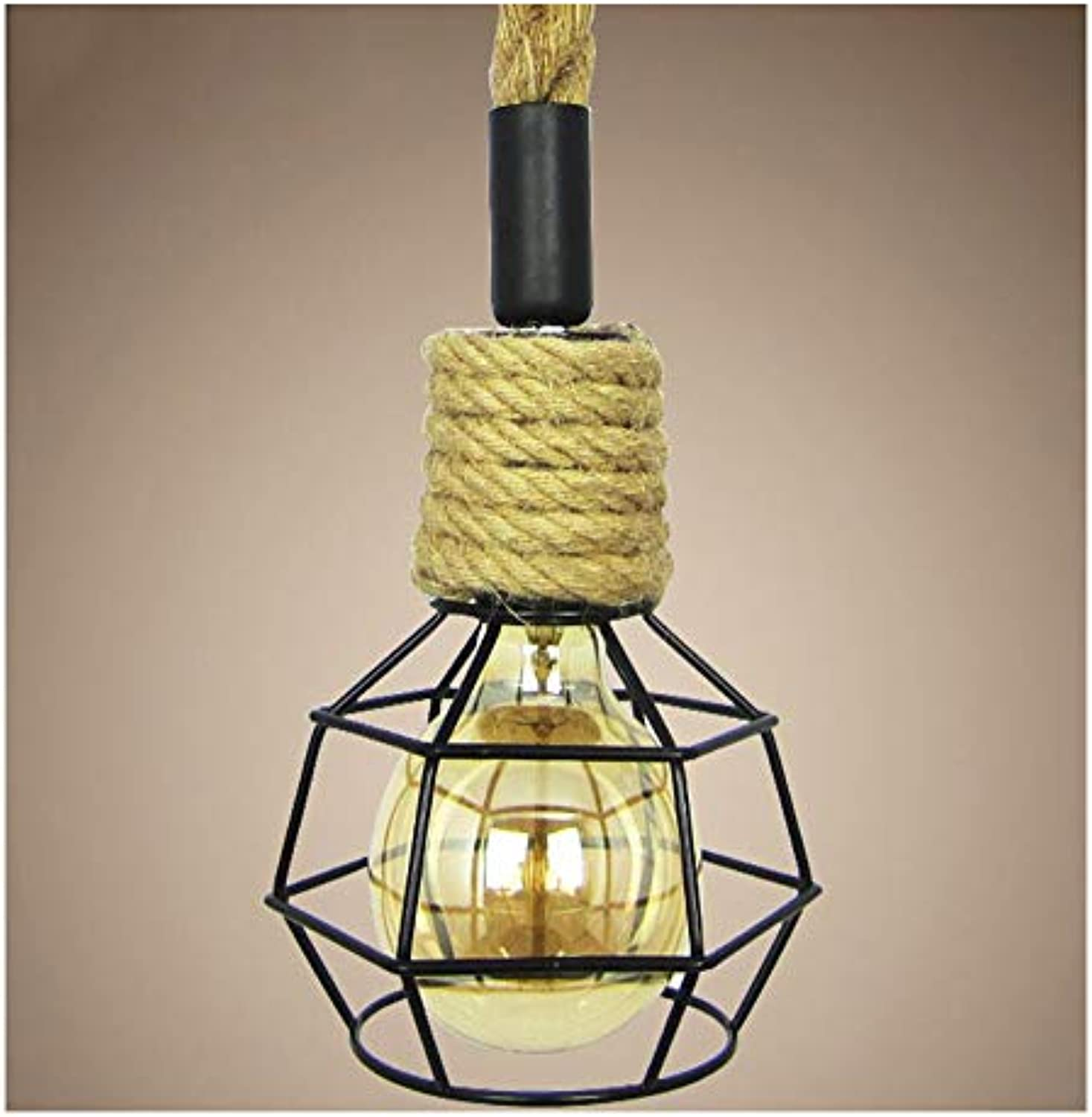 Retro Industry Hanf Rope Chandelier-Irons Bird Cage Creative Pendant Light for Bedroom Restaurant Club Cafe Hotel Decoration Lights