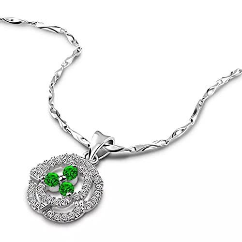 Moda Collar Joyas Gargantilla Colgante de Rosa de circonita Verde Collares y Colgantes de Color Plateado para Mujer Colgante de Cristal Regalo de joyería de Color Plateado Parejas Cumpleaños Regalos