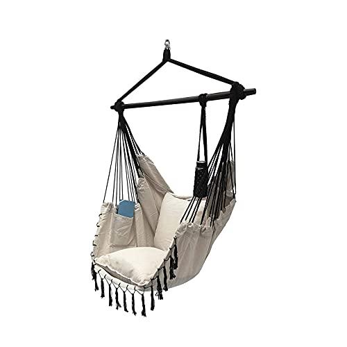 Columpio de cuerda colgante para silla hamaca, máximo 300 libras, 2 cojines incluidos, silla colgante grande con bolsillo, tejido de algodón de calidad para una comodidad y durabilidad superiores
