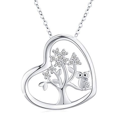 Eule Kette 925 Sterling Silber Lebensbaum Kette Eule Herz Anhänger Tiere Halskette Eulen Schmuck für Damen Eulen Geschenke für Kinder Mädchen
