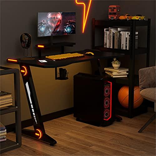 Mesa de juegos, escritorio para juegos con iluminación LED, soporte para bebidas, soporte para auriculares, mesa para juegos electrónicos, mesa grande para juegos, 3 modos LED