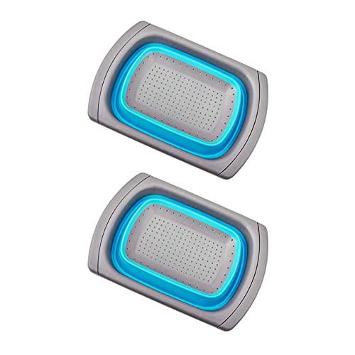 Batchelo 2 cestas de drenaje retráctiles, con asas extensibles, perfecto para drenar pastas, almacenar verduras, frutas, azul-1