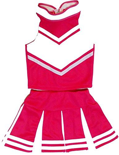 Women Cheerleader Cheerleading Outfit Uniform Costume Cosplay Pink/White (XS/ 0-2)