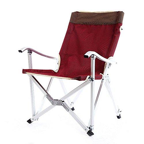 Cylficl Silla Plegable de Aluminio Ultraligero con Respaldo Silla de Pesca Silla portátil Descanso for Silla reclinable (Color : Red)