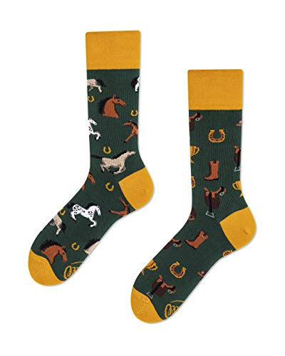 Many Mornings - Horse Derby, Pferde mismatched, bunte ungleiche Socken (35-38)