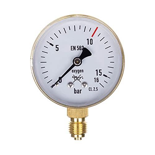 THERMIS Manómetro de soldadura 404 Manómetro de soldadura para medición de presión de gases técnicos Salida (0-16 bar) Conexión inferior