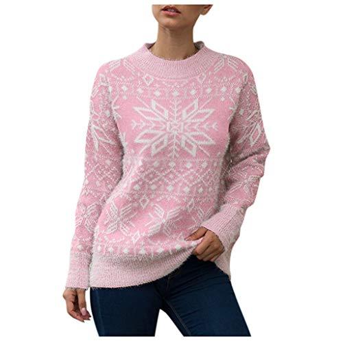 ZODOF Jerseys de Navidad Mujer Prendas de Punto Estampado de Copo de Nieve Manga Larga Cuello Redondo suéter de Punto Tops Pullover Sweaters