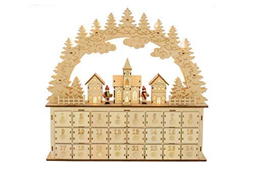 Clever Creations - Calendario de Adviento - Pueblecito nevado con Papá Noel - con cajoncitos para Cuenta atrás...