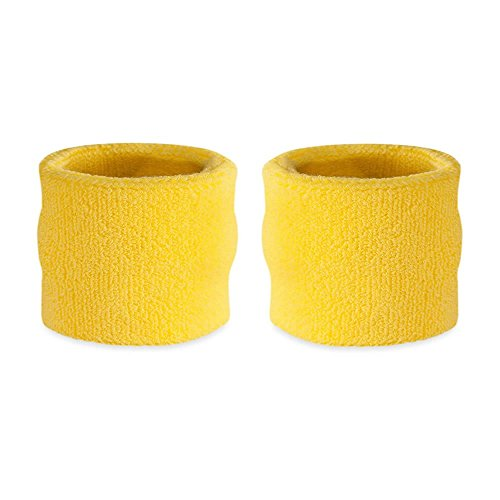 Suddora Kids Wrist Sweatbands - Athletic Cotton Terry Cloth Sports Wristbands for Kids (Pair) (Neon Yellow)