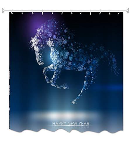 A.Monamour Duschvorhänge Königsblau Bild Hintergründe Pferdeform Schneeflocke Frohes Neues Jahr Kreative Druck Wasserdicht Moldproof Tuch Stoff Polyester Bad Gardinen Für Bad Dusche 150X180 cm