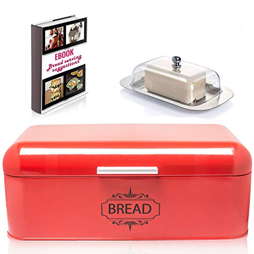 "Vintage Bread Box For Kitchen Stainless Steel Metal in Retro RED + FREE Butter Dish + FREE Bread Serving Suggestions eBook 16.5"" x 9"" x 6.5"" Large Bread Bin storage by All-Green Products (Red)"