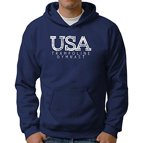 Eddany USA Trampoline Gymnast Grunge Hoodie Steel
