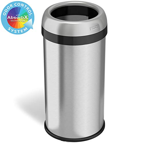 iTouchless 16 Gallon Dual-Deodorizer Round Open Top Trash Can and Recycle Bin, 60 Liter Stainless Steel Commercial Grade Trashcan, 10 Inch Opening good for Home, Restaurant, Restroom, Office