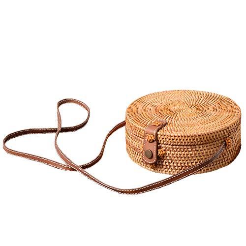 SODIAL Bali Vintage Bandouliere Fait a la Main Sac en Cuir Sac de Plage Rond Sac en rotin pour Filles Petit Sac a bandouliere Boheme