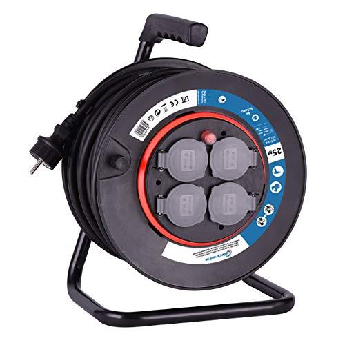 Electraline 49125 Allargador de Cables con Enrollacables con Tomas de Corriente Fijas 25 M, Pletina Fija, Cable H05 VV-F Secciòn 3G1, 5 mm², Color Negro