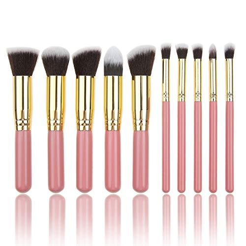 Lot de 10 pinceaux de maquillage portables avec poignée en bois noir doré, noir, argent, 5 grands 5 petits pinceaux de maquillage