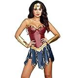 Halloween Adulto Imitación Cuero Mujer Maravilla Cos Ropa Sexy Vestido, Adecuado para Fiesta De Disfraces De Halloween, Fiesta De Cumpleaños Y Varios Partidos,S