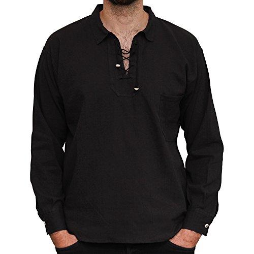 Camisa de algodón de verano, comercio ético con cordón.